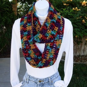 INFINITY SCARF Lightweight Summer Loop Cowl Colorful Red Burgundy Gold Green Purple Turquoise Handmade Crochet Knit..Ready to Ship in 3 Days