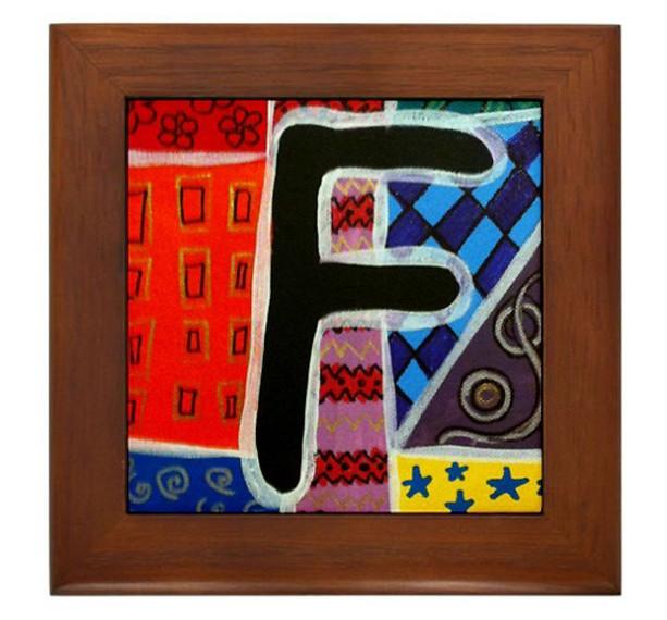 """Folk Art - Letter """"F"""" - FRAMED TILE By Artist A.V.Aposte"""