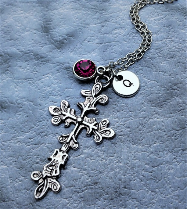Personalized Flower Cross Necklace