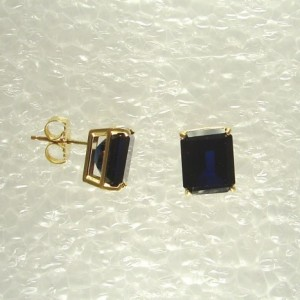 14K Gold Post Rectangle Blue Spinel Gemstone Earrings P14K10X8OCTBSP