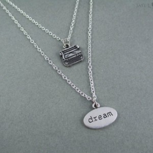 Layered Double Strand Dream Typewriter Necklace - Writer Gift - Author Gift