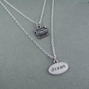 Layered Double Strand Dream Typewriter Necklace - Writer Gift - Author Gift