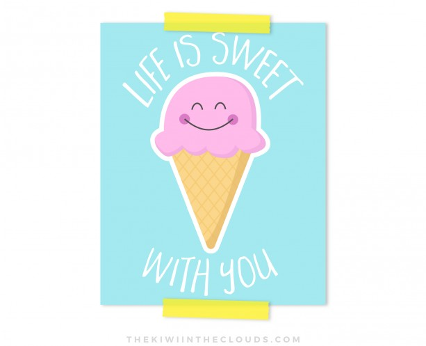 Life Is Sweet Nursery Printable, Nursery Art, Ice Cream Printable Art, Girls Nursery Art