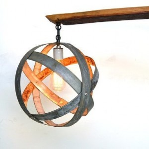 ATOM Collection - Trilateral - Wine Barrel Flushmount Chandelier / made from salvaged CA wine barrels - 100% Recycled!