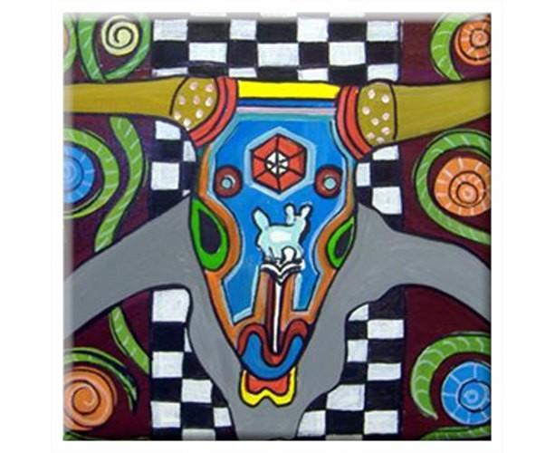 Mexican Folk Art- BULL HORNS- TILE Signed By Artist A.V.Apostle