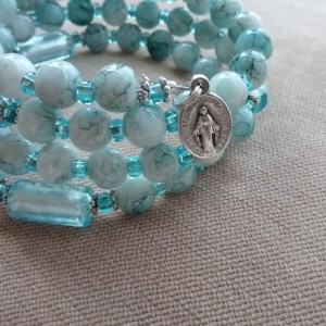 Rosary Bracelet of Blue Glass and Foil Lined Beads, Silver Findings
