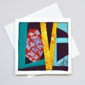 LOVE patch card -- handmade fabric patchwork sewn card