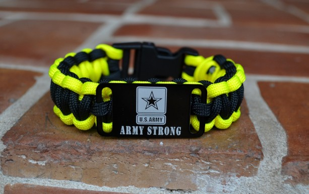 US Army Strong Black and Yellow Paracord Bracelet w/ Plastic Buckle