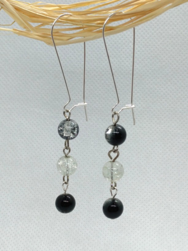 Black and Crystal Crackle Glass Bead Drop Earrings on Kidney Wire Hooks by Cumulus Luci