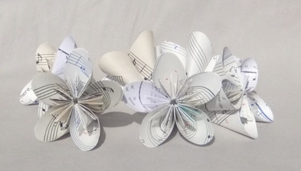 6 Small Sheet Music Origami Flowers Upcycled Aftcra