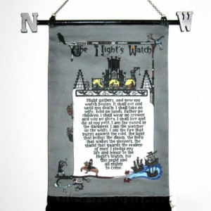 The Nights Watch - illuminated medieval-style tapestry.  Song of Ice & Fire