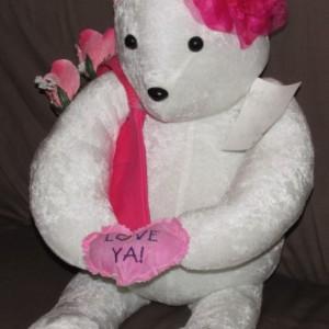 Mother Teddy Bear, White Velour