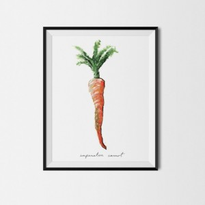 8x10 Carrot Print, Carrot Art, Food Illustration, Kitchen Decor, Carrot Painting, Art Print, Vegetable Print, Garden Painting, Veggie Art,