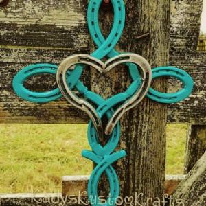 Rustic Horseshoe Cross, Religious Cross, Handcrafted Cross, Handmade Wall Decor, Turquoise Blue Horseshoe Cross, Valentines Day gift, Heart