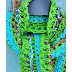 Long crochet scarf, Chunky, Multicolored, Vegan friendly, Eco friendly, Ready to ship
