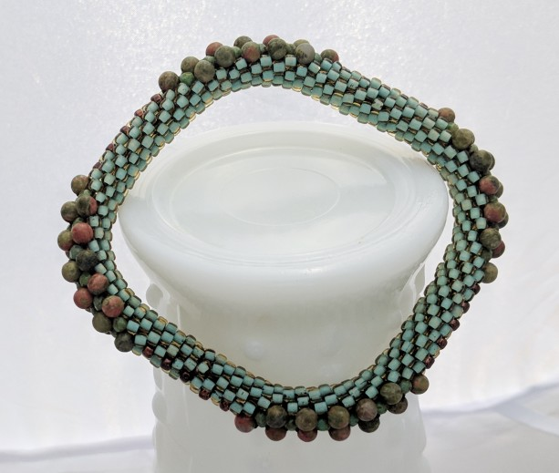 Turquoise Green Square Bead Crochet Bangle