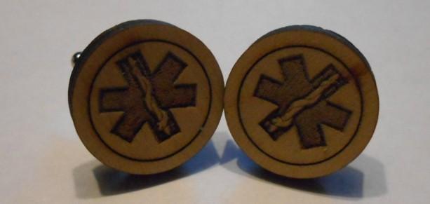 Laser Engraved Wood  Cufflinks Cuff Links Custom Great Gift EMT Paramedic Emergency Ambulance
