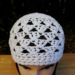 Solid Basic White Summer Beanie, Sun Hat, 100% Cotton Lacy Skullcap, Women's Crochet Knit, Warm Weather, Chemo Cap, Ready to Ship in 3 Days