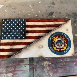 Split American and Coast Guard Flag