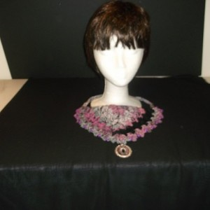 Beadazzled crochet kerchief style slip-on necklace with matching pendant. One size fits most. One of a kind.
