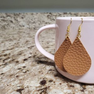 Tear Drop Faux Leather Earrings