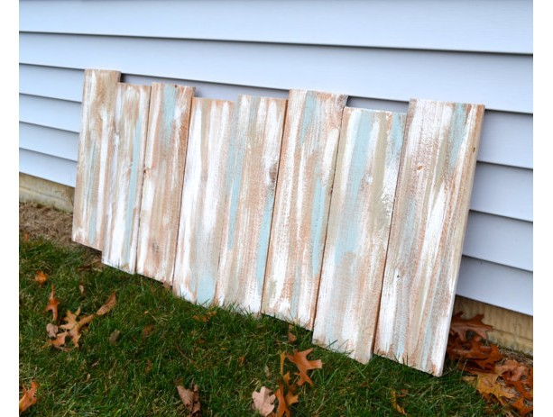 Staggered Reclaimed Wood Shabby Chic Headboard Wall Art