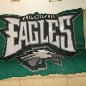 """A  knitted afghan of the Philadelphia Eagles. The Eagle afghan measures 53""""w x 55""""l. Stephanie acrylic yarns used to knit my Eagle afghan."""