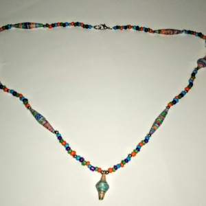 """Rainbow"" Paper Bead Necklace"
