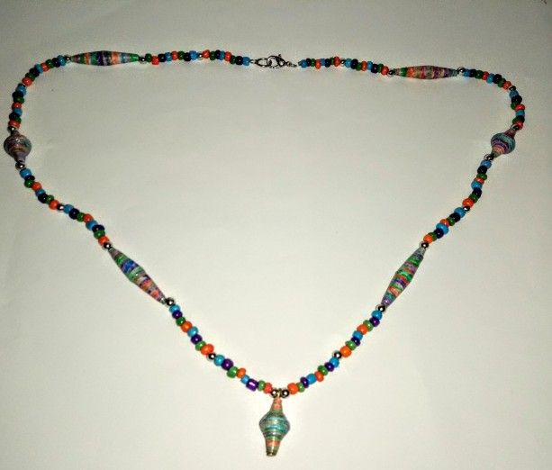 """Rainbow"" Paper Bead Necklace"