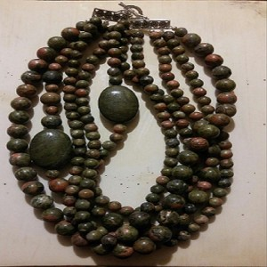 Unakite Necklace - Green / Pink
