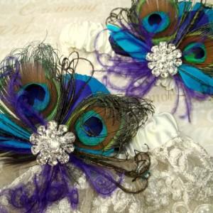 WEDDING GARTER SET, Lace Bridal Garter, Peacock Garter set,  Wedding Garters, Blue Green Purple Teal, Garter Toss Set, Bridal Garters