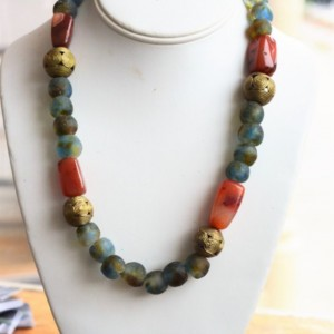 Tribal necklace Agate beads, Ethnic necklace, African necklace, African jewelry, Ghana beads, Brass necklace, Beaded necklace, recycle glass