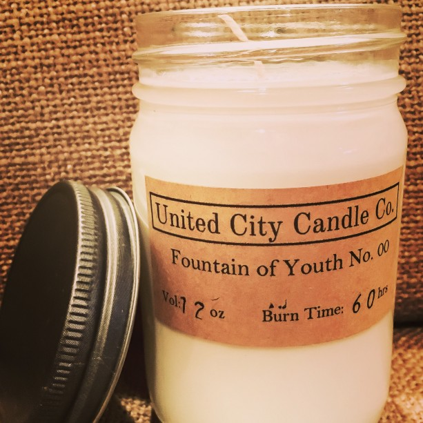 Fountain of Youth No. 00 --rose, vanilla, and lavender infuse youthfulness to your home. 100% soy candle. United City Candle Co.Made in USA