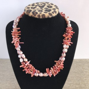 Pearl and Coral Statement Necklace, Rose Pearl Necklace, Red Coral Necklace, Pearl Beaded Necklace, Red Coral Statement Necklace