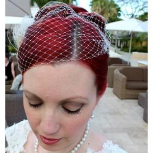 French Net  Veil, Bridal Veil,  French Net Veil, Bandeau Veil, Small Veil, VIntage Style Veil, White Bridal Veil, Ivory Bridal Veil, Veils