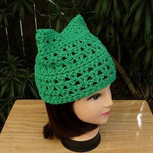 Earth Day March For Science Pussy Cat Hat, Solid Green PussyHat Summer Spring 100% Cotton Lightweight Crochet Knit Lacy Beanie, Ready to Ship in 3 Days