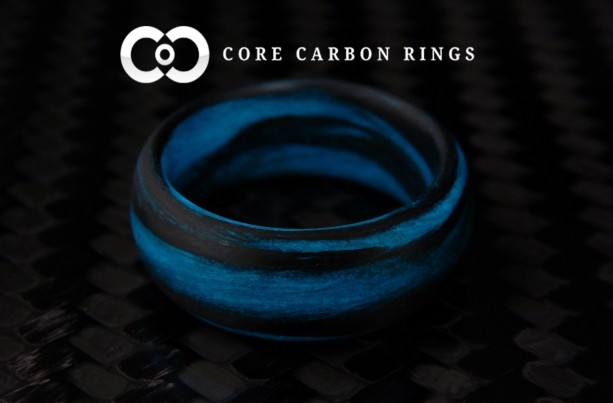 Carbon Fiber Blue and Black Marbled Glow Ring