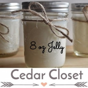 Cedar Closet  8 ounce Scented Handcrafted Soy Candle Jelly Jar