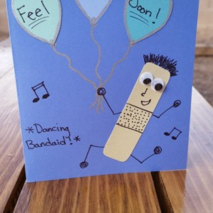 "Handmade, Get Well Cards - ""Dancing Bandaid"" - Set of Four (4)"