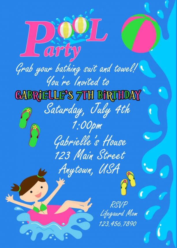 Pool Party Invitation, Invitations, Birthday