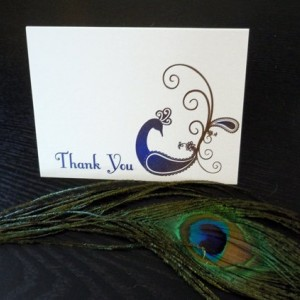 Peacock Thank You cards - Dozen (12) cards printed on metallic paper