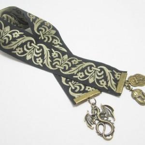 Dragon Ribbon Bookmark, Fantasy Bookmark, Tapestry Ribbon