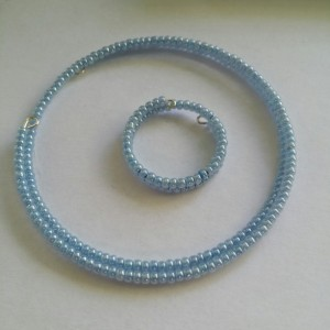 Pearl Blue Seed Bead Bracelet and Ring Set