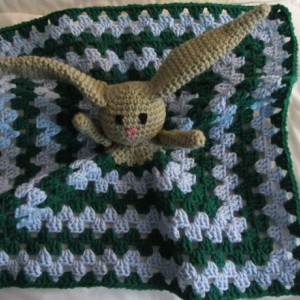 Crochet Bunny Security Blanket, Crochet Rabbit, African Flower Baby Toy, Stuffed Bunny Lovey, Crochet Granny Square Security Blanket