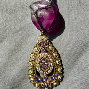 PURPLE FLUORITE Healing Crystal Necklace with a Brass Rhinestone Jeweled Fan