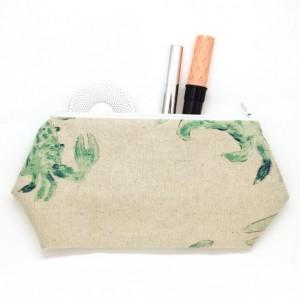 Canvas Cosmetic Bag w/ Watercolor Crabs - Travel Bag, Large Cosmetic Bag, Large Makeup Bag, Canvas Fabric, Watercolor Fabric, Nautical Bag