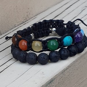 Macrame Square Knot Chakra Bracelet | 7 Stone Chakra Energy Bracelet | Gemstone Bracelet Set | 2 Piece Bracelet Set | Choose Your Gemstone