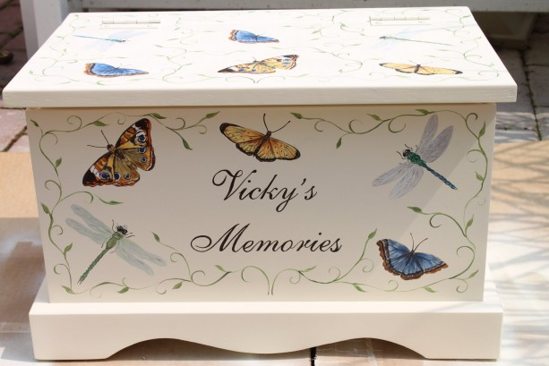 Keepsake Chest Memory Box - Butterfly and Dragonfly