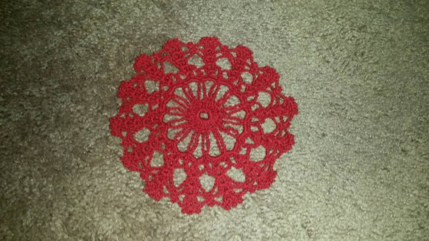 Handmade Christmas Red Snowflake Doily Merry Christmas Happy Winter