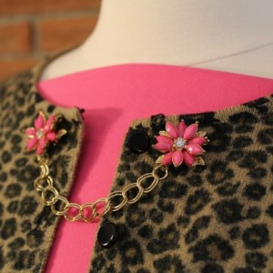 Pink Flower and Rhinestone Sweater Keeper